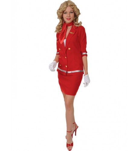 Rode Sexy Stewardess Vrouw Kostuum