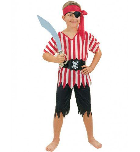 Gestreept Piraat Jongen Kostuum