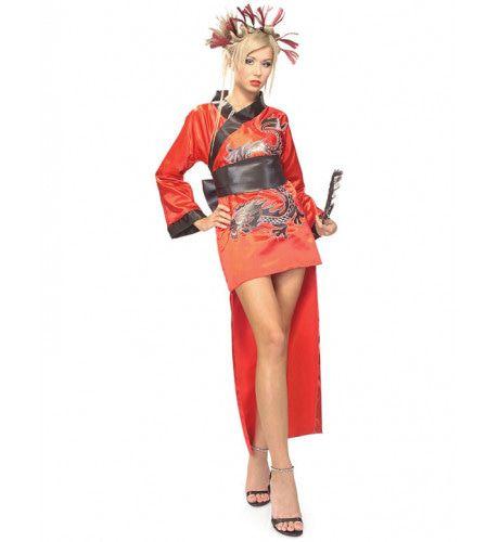 Rode Draak Dame Geisha Vrouw Kostuum
