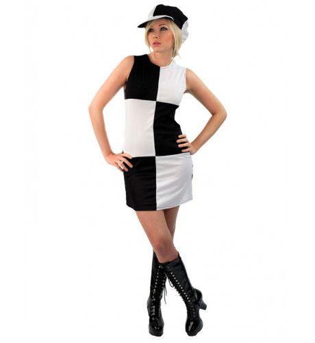 60s Dame Kostuum (Zwart & Wit) Vrouw