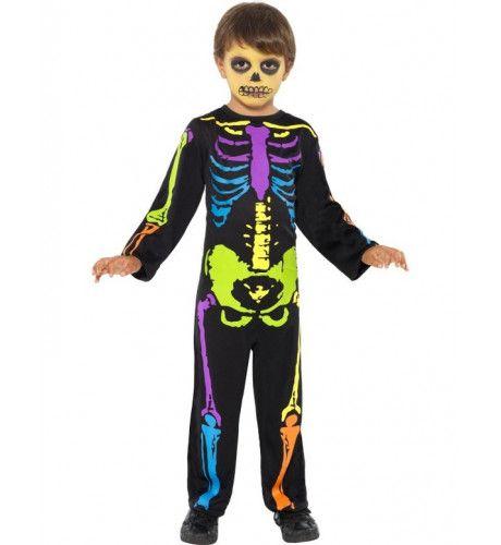 Punk Neon Skelet Jongen Kostuum