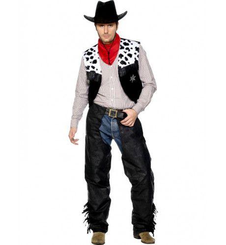 Cowboy Kostuum Zwart Wit Man