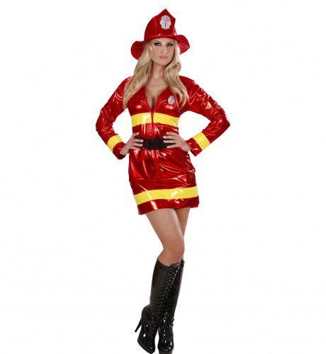 Brandweervrouw Metalic Kostuum