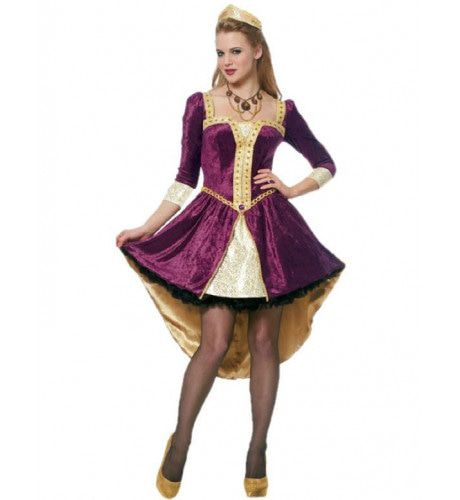 Vrouwelijke Koningin Uit De Middeleeuwen Vrouw Kostuum
