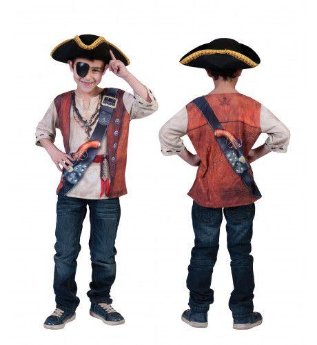 3d-Shirt Piraat Jongen Kostuum