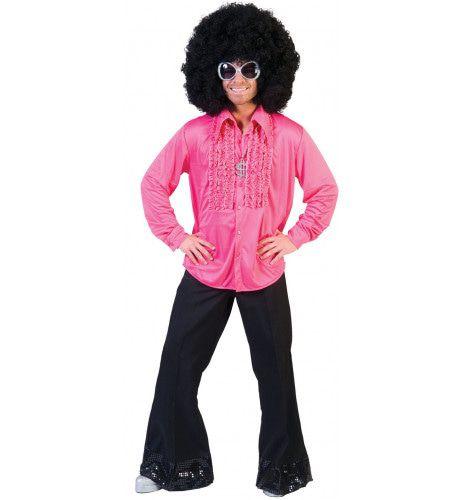 Zaterdag Disco Hemd Roze Man Kostuum