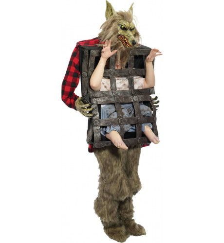 Weerwolf Horror Wolf Met Gevangene Man Kostuum