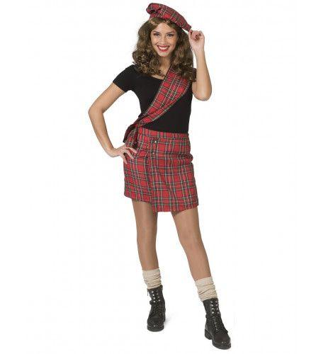 Stout Schoolmeisje Sheena Schotse Ruit Vrouw Kostuum