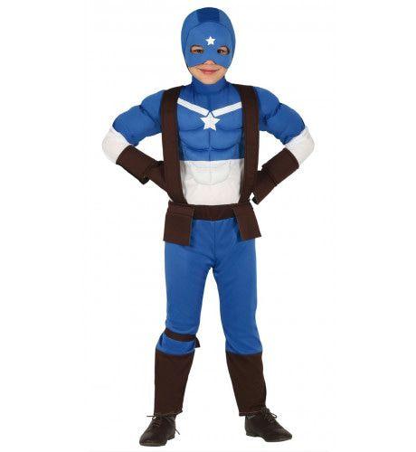 Zwaar Gespierde Superheld Jongen Kostuum