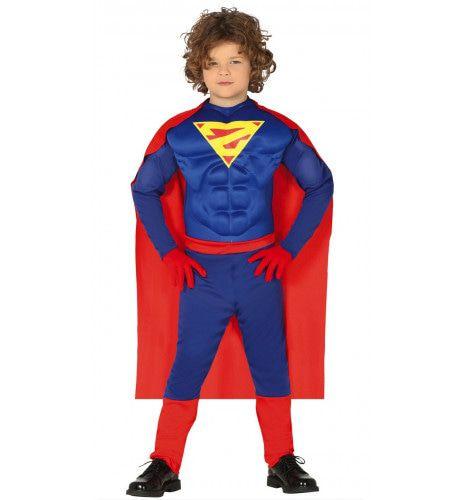 Bijna Te Gespierde Superheld Jongen Kostuum