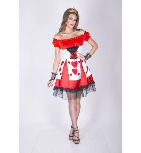Verleidelijk Flirtende Hartenkoningin Vrouw Kostuum