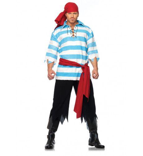 Modern Piratenpak Blauw-Wit Man Kostuum