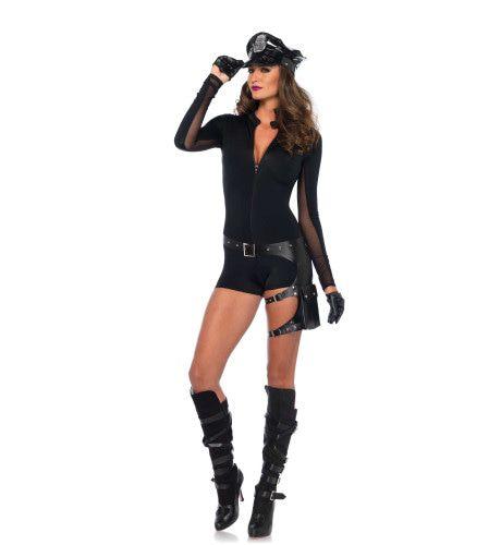 Erotische Zwarte Romper Met Rits Vrouw Kostuum