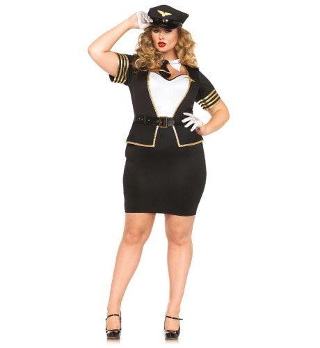 Vrouwelijke Keurige Pilote Miles High Club (Plus Size) Kostuum