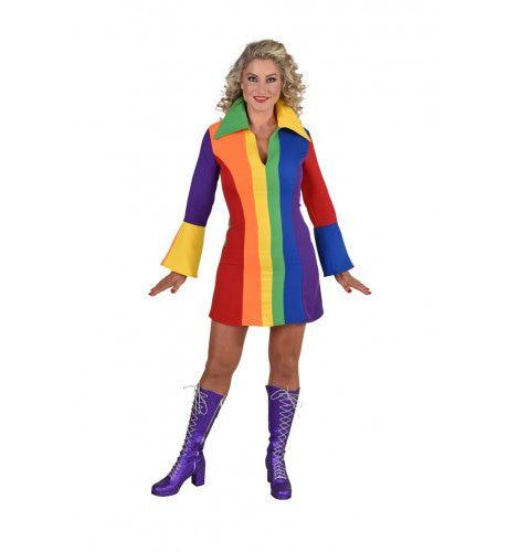 Vrolijk Regenboog Jaren 70 Stijl Vrouw Kostuum