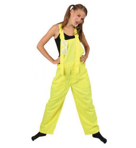Funky Disco Tuinbroek Kids Neon Geel Kostuum
