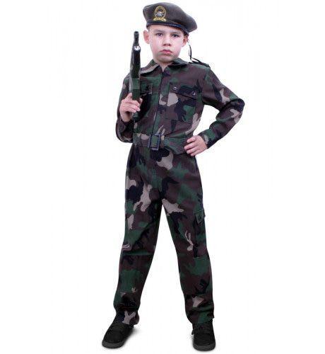 Camouflage Overall Soldaat Kind Jongen Kostuum