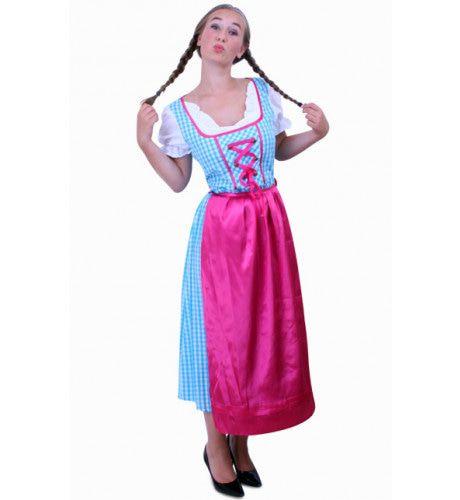 Keurige Tiroler Jurk Lang Annabella Blauw / Wit Ruitje, Schortje Roze Vrouw
