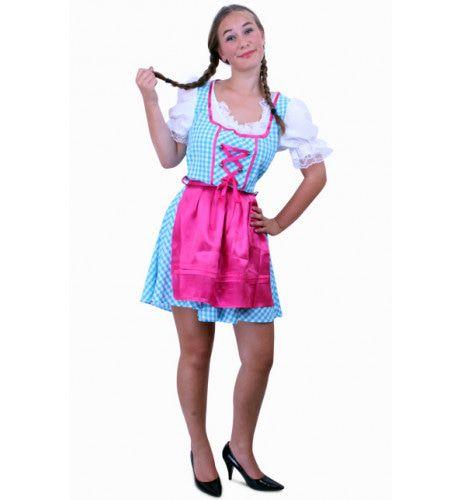 Keurige Tiroler Jurk Kort Annabella Blauw / Wit Ruitje, Schortje Roze Vrouw