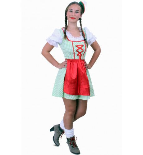 Keurige Tiroler Jurk Kort Daniella Groen / Wit Ruitje, Schortje Rood Vrouw