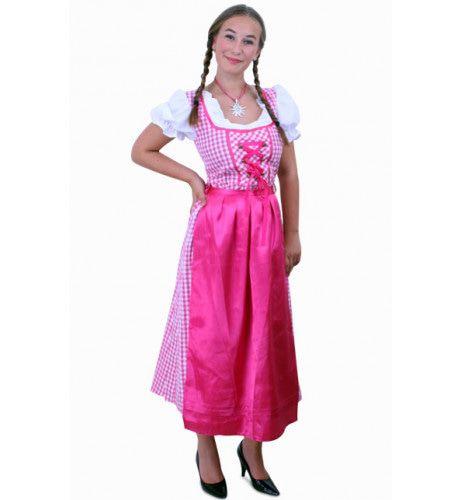 Keurige Tiroler Jurk Lang Lena Pink / Wit Ruitje, Schortje Roze Vrouw