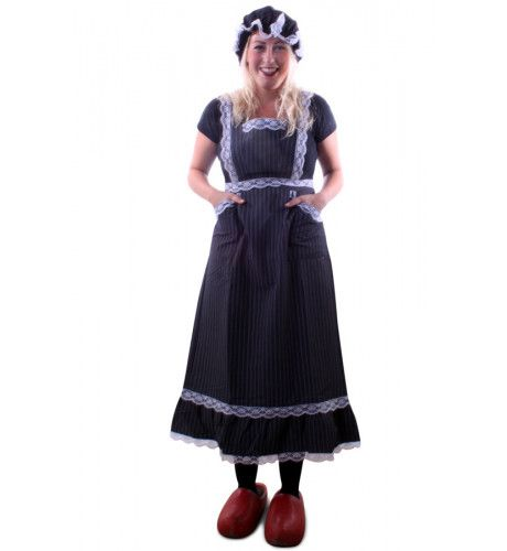 Oma Antieke Boerin Schort + Hoedje Vrouw Kostuum