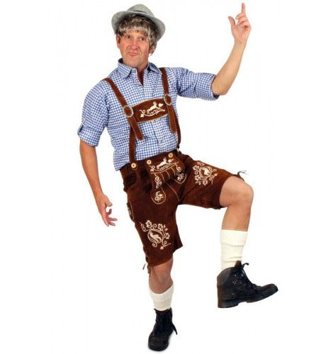 Echt Lederen Cognac Met Borduursels Lange Lederhose (Grote Maat) Man Kostuum