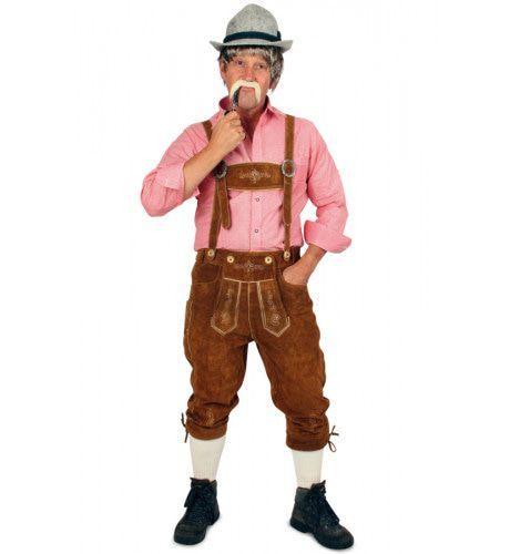 Echt Lederen Bruin Met Borduursels Lange Lederhose (Echt Leer) Man Kostuum