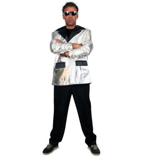 Disco Fever Smoking 2delig Zilver Man Kostuum