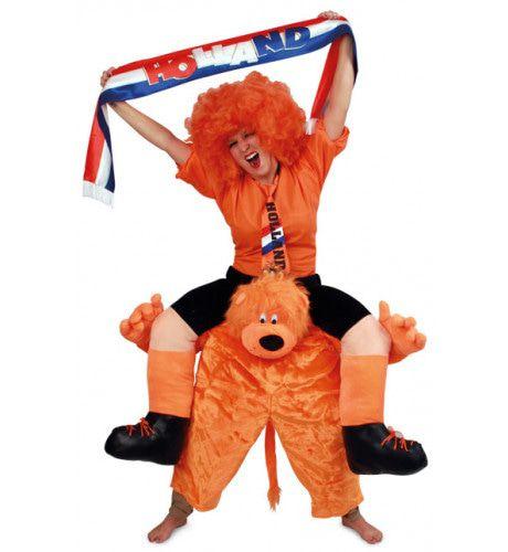 Oranje Supporter Op Hollandse Leeuw Kostuum