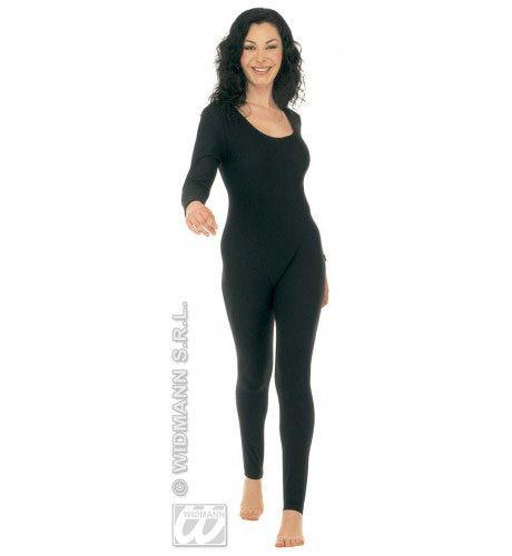 Bodysuit Dame, Met Mouwen, Zwart Vrouw Kostuum