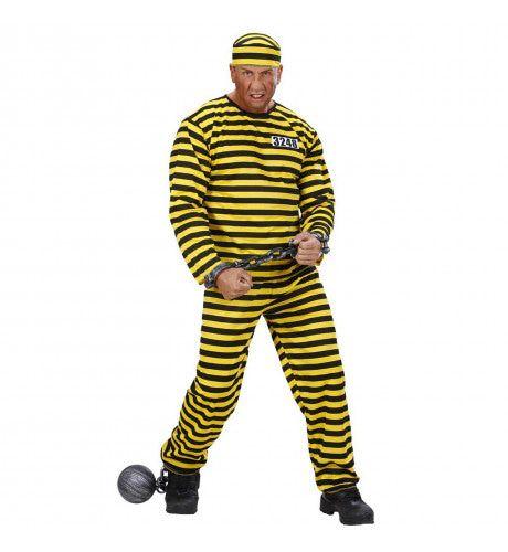 Gevangene Zwart-Geel Kostuum Man