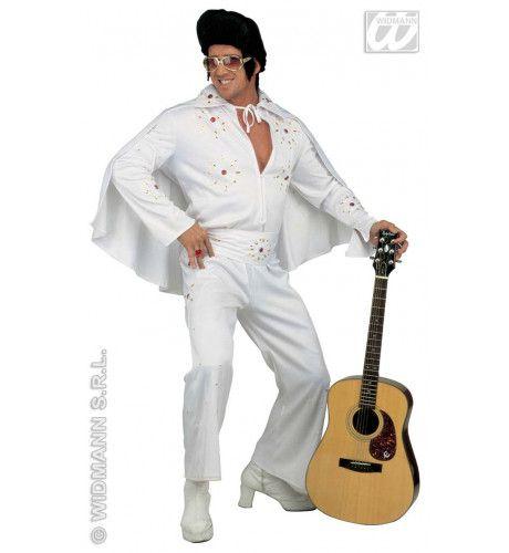 King Of Rock, Zeer Luxe Uitvoering White Elvis Kostuum Man