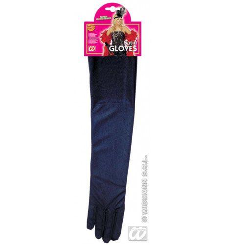 Handschoenen Satijn, Zwart, 45 Centimeter