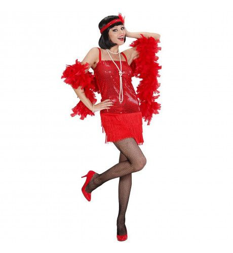 Enchanting Flapper Jurk Rood Kostuum Vrouw