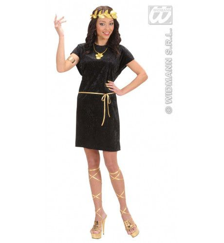 Griekse Of Romeinse Tuniek Zwart Met Gouden Riem Kostuum Man