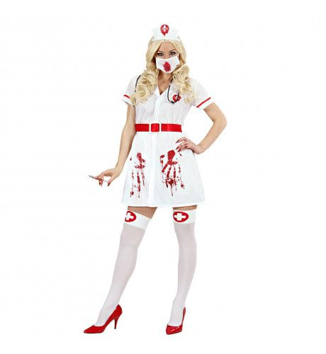 Zieke Bloederige Verpleegster Kostuum Vrouw