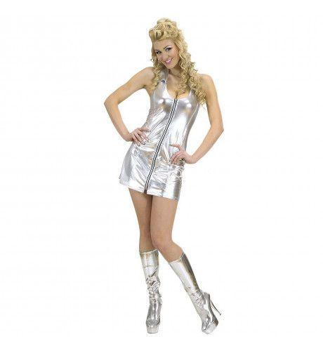 Zilveren Jurk Ritssluiting Gold Digger Kostuum Vrouw