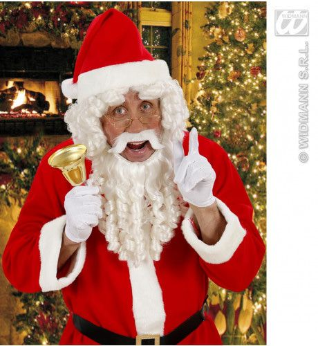 Kerstmanpruik Krul Met Baard, Snor En Wenkbrouwen