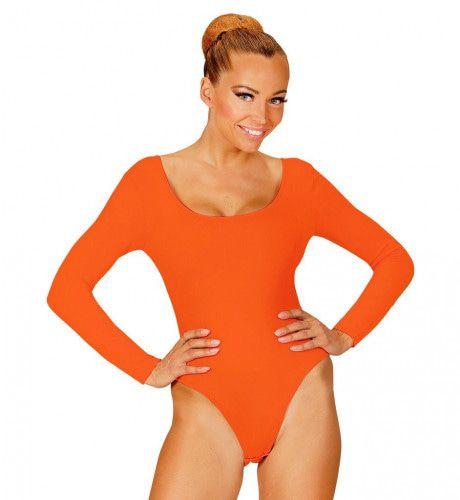 Unicolor Body Volwassen Met Knoopsluiting, Oranje