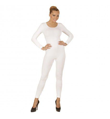 Unicolor Body Volwassen, Lang, Wit Vrouw Kostuum