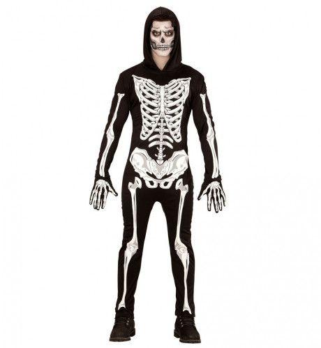 Glowing Zombie Skelet Donker Man Kostuum