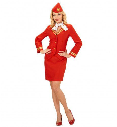 Flying Red Stewardess Vrouw Kostuum