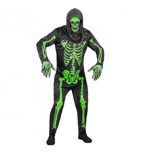 Gruwelijk Groen Neon Skelet Man Kostuum