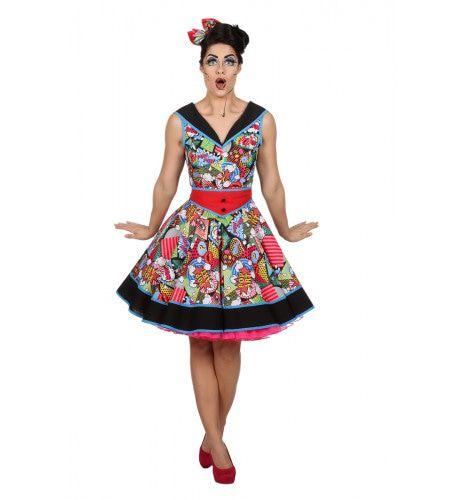 Pop-Art Lichtenstein Rock And Roll Vrouw Kostuum