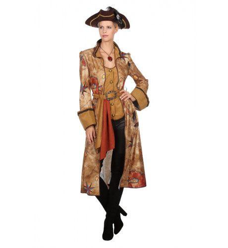 Schatkaart Onbewoond Eiland Piraat Vrouw