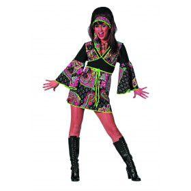 Geisha Hippie Jurkje Zwart / Pink Vrouw