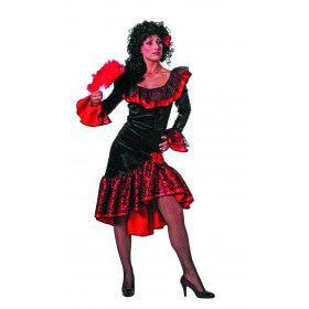 Rood Zwarte Hola Que Tal Spaanse De Luxe Flamenco Jurk Vrouw
