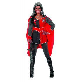 Ridders Delight Ridderdame Gwen Grijs / Rood Vrouw Kostuum