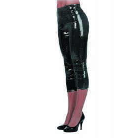 Zwarte Legging Pailletten Stretch Vrouw